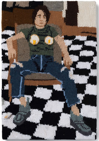 Kate Just, Feminist Fan # 9 (Sarah Lucas, Self Portrait with Fried Eggs, 1996), Version 2, 2016,a�?558 x 381mm. Photo: Simon Strong, courtesy of the artist